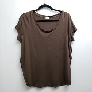 Ag Adriano Goldschmie Brown Short Sleeve Tee Sz M